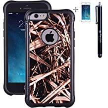 """iPhone 6 Case, True Color® Grass Straw Hunter Real HD Tree Camo Emboss Printed Impact Resistant TPU Protective Anti-slip Grip Snap-On Soft Rugged Cover for iPhone 6 (4.7"""") [True Impact Series] + FREE Stylus and Screen Protector"""