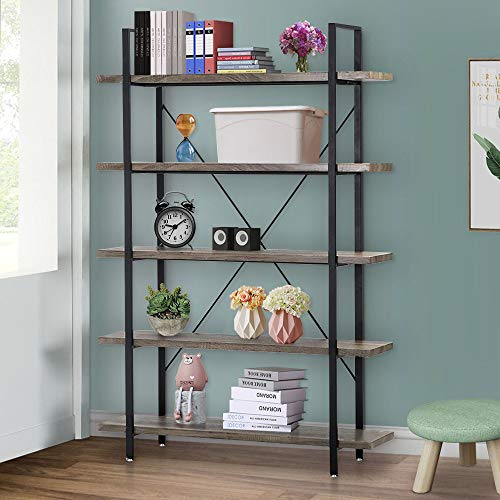 Bookcase 5 Tier Bookshelf Vintage Industrial Shelf Wood Display and Storage Bookcases Metal Frame Furniture Home Office
