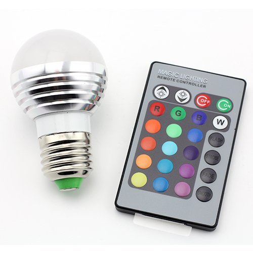 SUPERNIGHT E27/E26 Standard Screw Base 16 Colors Changing Dimmable 3W RGB LED Light Bulb with IR Remote Control for Home Decoration/Bar/Party/KTV Mood Ambiance Lighting (Light Bulb Color compare prices)