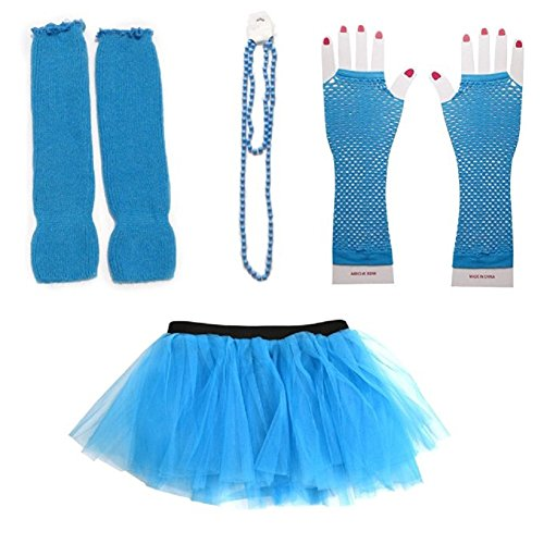 Mystiqueshapes 80s Fancy Costume Set - TUTU & LEG WARMERS & FISHNET GLOVES & BEADS (Blue) (80s Womens Fancy Dress)