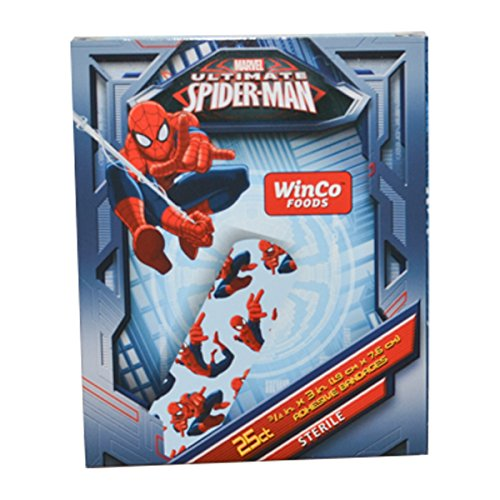 Spider-man Sterile Adhesive Bandages, Latex Free - 3 Boxes (25 Bandages Per Box)