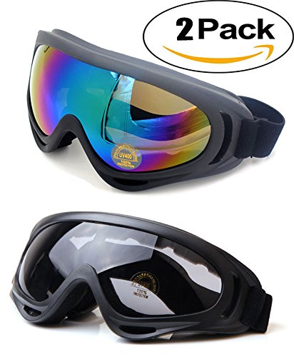 OutDiret 2 Pack Black & Colorful UV400 Ski Goggles Snowboard Spherical Protection Anti-fog Detachable Mirror Lens for for Riding Motorcycle Bikes Skiing