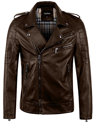 chouyatou Men's Vintage Asymmetric Zip Lightweight Faux Leather Biker Jacket (XX-Large, Coffee) ()