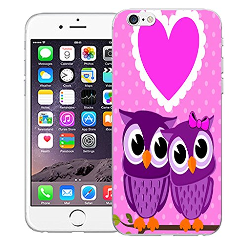 "Mobile Case Mate iPhone 6S Plus 5.5"" Silicone Coque couverture case cover Pare-chocs + STYLET - Love Heart Owls pattern (SILICON)"