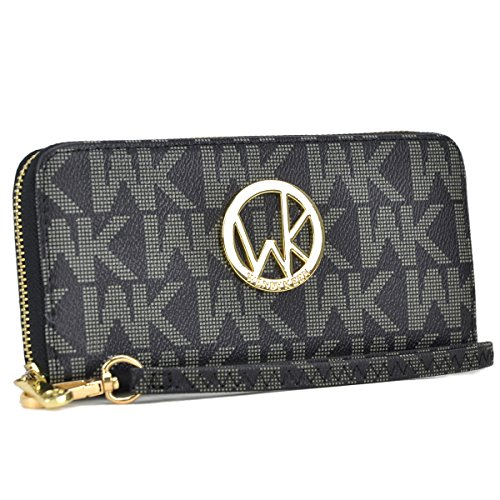 MKP Collection Card Case Wallets~Zip Around and Twist Lock Wallet. Wallet for woman,Wallet for all season.Fashion Wallet (906 Black) - Gold Tone Hardware Lock