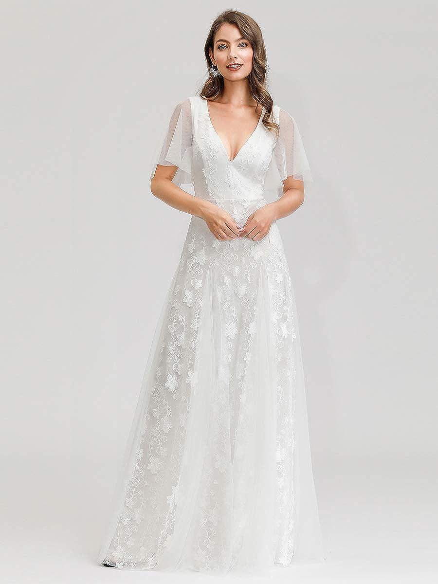 Ever-Pretty Womens Double V Neck Floor Length A Line Short Sleeve Elegant Embroidered Tulle Wedding Dresses 00723