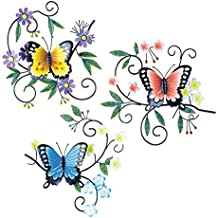 Collections Etc Trio of Butterflies Greenery Wall Art
