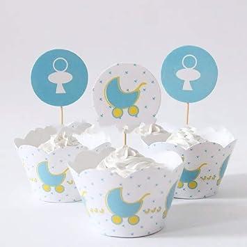 Cochecito de bebé Baby Shower Cupcake Wrappers y toppers- Juego de 12: Amazon.es: Hogar