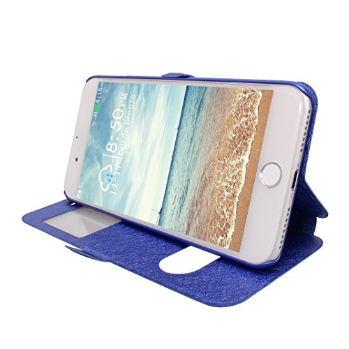 iPhone 7 Plus Ventana Vista Caso, iPhone 8 Plus Funda Libro, Moon mood PU Cuero Carcasa Piel con Tapas [Interior Duro PC Cubierta] Flip Folio Kickstand Estuche para iPhone 7 Plus / 8 Plus 5.5 pulgada  Azul