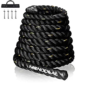 Well-Being-Matters 51oOaA5WCML._SS300_ Battle Rope, MONODEAL Battle Ropes for Exercises, Weighted Workout Rope for Home Gym/Outdoors, Exercise Rope for Men and…