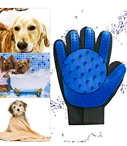 Woda Pet Grooming True Touch Five Finger Gentle Deshedding Brush Glove Dog/Cat Hair Remover