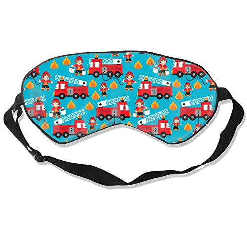 Jersey Natural Silk Sleep Mask & Blindfold, Super-Smooth Eye Mask (Adjustable Strap) - Blocks Light, Ultimate Sleeping Aid - Fire Truck and Hero Boys Car Eye Cover