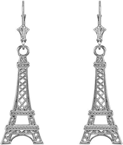 Statement Rhinestones Silver Plated Clip On Drop Dangle Earrings Eiffel Tower
