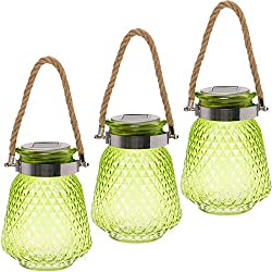 GreenLighting 3 Pack Solar Powered Mason Jar Light - Decorative LED Glass Table Light by (Lime Green)