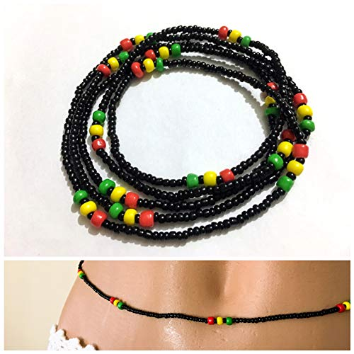 Belly bead, Waist beads, Stretchy Elastic String, Black red yellow green Jewlery, Beaded Body Jewelry, African Waist bead, Waist chain, Wear as Necklace Bracelet or Anklet.