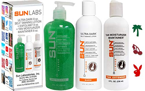Sun Labs Ultra Dark 8 Oz. Set w/Tan Maintainer and Exfoliant by Sun Laboratories - Self Tanner - Natural Sunless Tanning Lotion, Body and Face for Bronzing and Golden Tan - Very Dark Sunless Bronzer