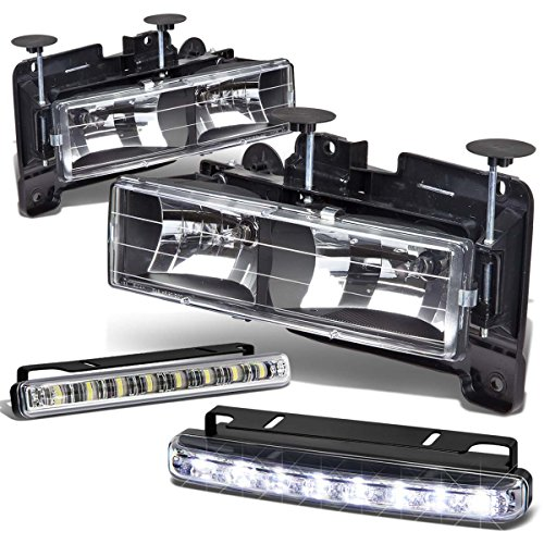 Chevy/GMC C/K-Series GMT400 Black Housing Headlight+DRL 8 LED Fog Light (93 Chevy 1500 Grille compare prices)