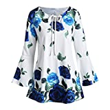 Fullwei Fashion Womens Plus Size Blouse Floral Print Flare Sleeve Tops Keyhole T-Shirts - 2019 The Latest in Autumn