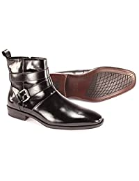 Men's Giorgio Venturi Black Leather Zip up Dress Boots 6480