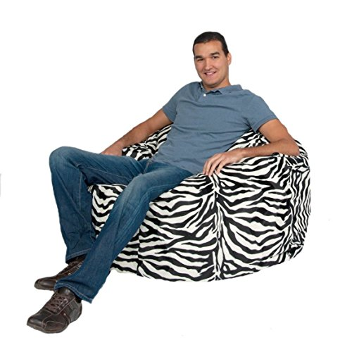 Cozy Sack Bean Bag Chair: Large 4 Foot Foam Filled Bean Bag - Large Bean Bag Chair, Protective Liner, Plush Micro Fiber Removable Cover - Zebra (Zebra Bean Bag Chair)