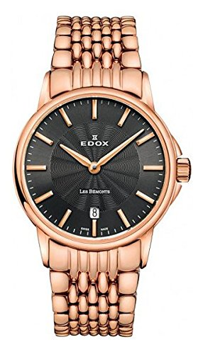 Edox Women's 57001 37RM GIR Les Bemonts Analog Display Swiss Quartz Rose Gold Watch