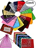 #9: BSLINO One Dozen/12pcs Assorted Bandanas 22X22 Inch 100% Cotton Novelty Double Sided Print Paisley Cowboy Bandana Party Favor Scarf Headband Handkerchiefs
