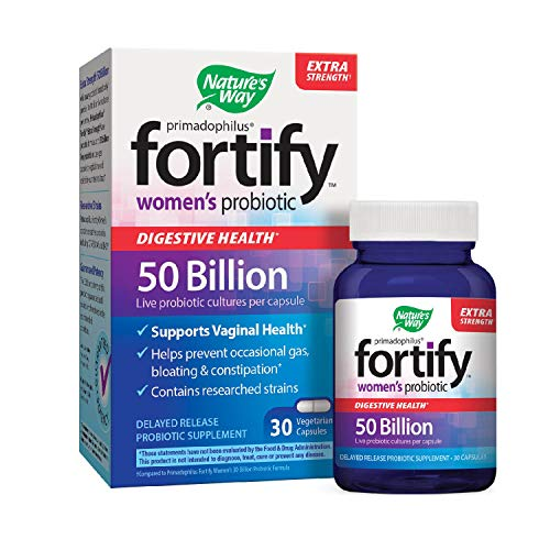 Nature's Way Primadophilus Fortify Women's Probiotic, Digestive and Immune Health*, Extra Strength, 50 Billion Active Cultures, Guaranteed Potency, Delayed Release,Gluten-Free, 30 Vegetarian (Best Nature's Way Probiotics For Women)
