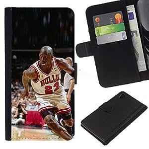 23 Bull Baloncesto - la tarjeta de Crédito Slots PU Funda de cuero Monedero caso cubierta de piel Para Sony Xperia Z4v / Sony Xperia Z4 / E6508