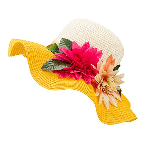 Tuplidsee Lady Wide Large Brim Floppy Summer Beach Sun Straw Hat Cap With Flower Yellow Adult for $<!--$19.17-->