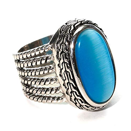 LookLove Womens Fashion Jewelry Blue Cat's Eye Ring Antique Silver - Cats Eye Antique