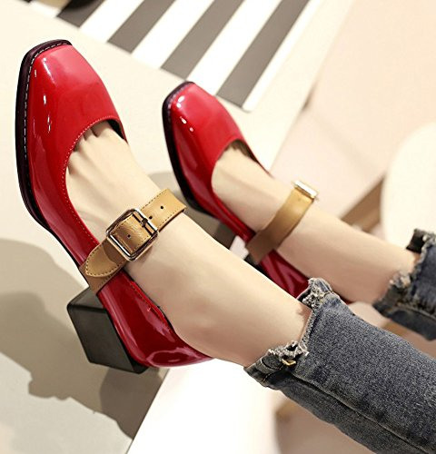 IDIFU Womens Vintage Square Toe Mid Chunky Heels Buckled Pumps Shoes Red lL93nvhc