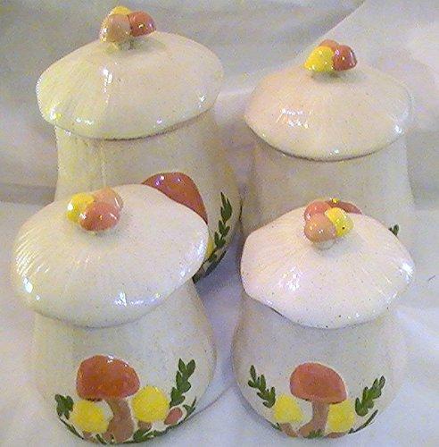 Mushroom Canister Set - Vintage Arnel's Mushroom Canister - 4 Pc. Set