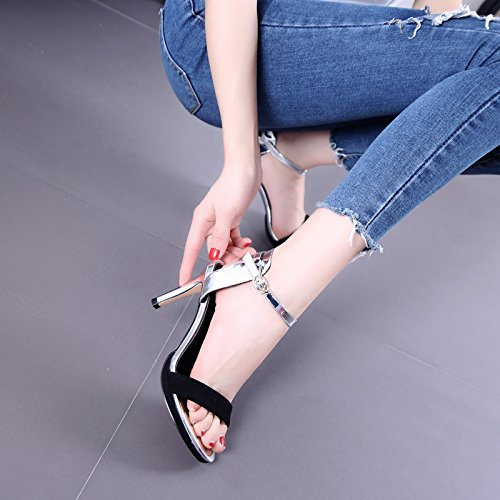 Puntera de verano de las sandalias de los estiletes La Mujer zapatos vacíos talones finos tacones Black