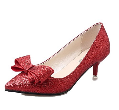 Odomolor AmagooTer Women's Pull-On Closed-Toe High-Heels Blend Materials Pumps-Shoes Red muyXDHEJA