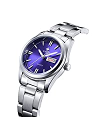 WWOOR Blue Case Stainless Steel Band Women Analog Calendar Waterproof Quartz Wrist Watch-Blue