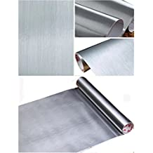 """Peel and Stick Brushed Stainless Steel Contact Paper Self Adhesive Vinyl Film Shelf Liner for Covering Backsplash Oven Dishwasher Pantry Appliances (24 x 117"""", Silver)"""