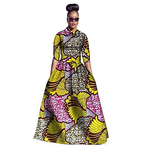 Ermonn Womens African Dashiki Print Half Sleeve A-Line 2 Pieces Maxi Dresses with Pockets