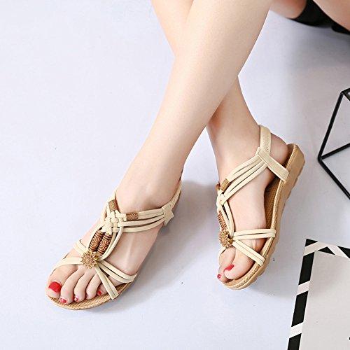 Sandals Bohemia Elastic Beige Strappy Summer Women String Senfi YqaEPP