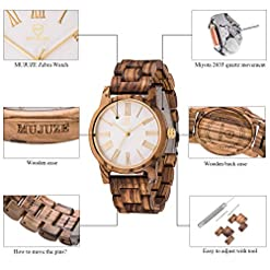 Wooden Watches, ShiLiTech Natural Handmade Vintage Wood Watches Women Gift Watches for Lady Amazon choices