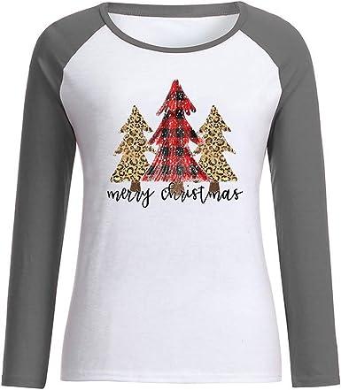 Camiseta Estampado Mujer Camisetas de Navidad Niña Ropa Adolescente Chica Tops Raglán Casual Blusa Cómodo Camisa Informales T Shirt Yvelands: Amazon.es: Ropa y accesorios