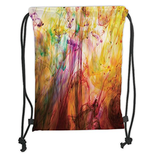 Custom Printed Drawstring Sack Backpacks Bags,Modern Decor,Rainbow Water Painting Colored on a Canvas Painting like Artistic Image Print,Multicolor Soft Satin,5 Liter Capacity,Adjustable String Closur