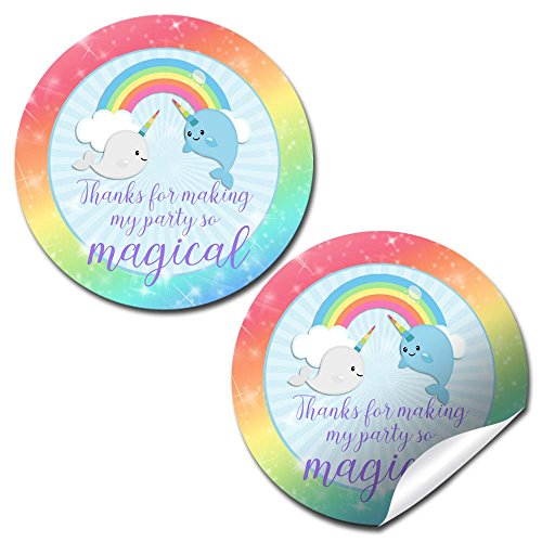 (Narwhal Unicorn of The Sea Thank You Birthday Party Sticker Labels, 40 2