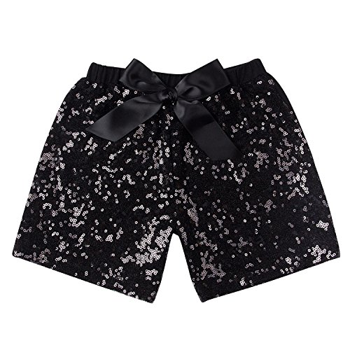 Messy Code Baby Girls Shorts Toddlers Short Sequin Pants Newborn Sparkle Shorts with Bow , Black, L(2-3Y)