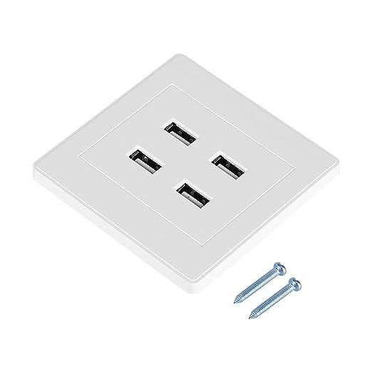 Toma USB Sockets de Pared, Enchufe de Pared con 4 Puertos de Carga USB, Puertos USB Cargador de Toma de Panel Eléctrico para Cargar Dispositivos ...