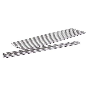 Sweton Metal Chopsticks Stainless Steel Non-skid Design Squared Chopsticks(6pairs)