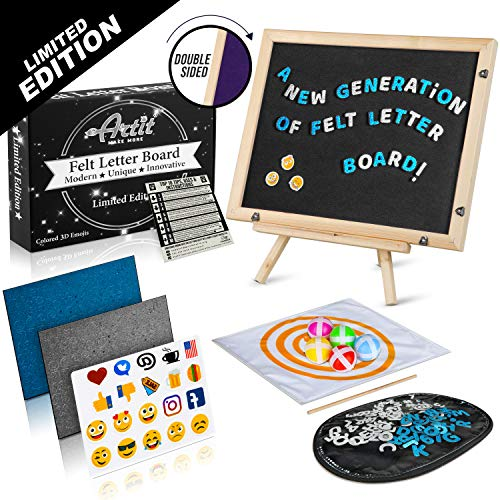 ARTIT UPGRADED Felt Letter Board Set 11x14' Double Sided Black Purple 3D Glitter Characters Colored Emojis Kids Dartboard Game Wooden Frame Wood Stand Changeable Message Letterboard Signs Words Quotes