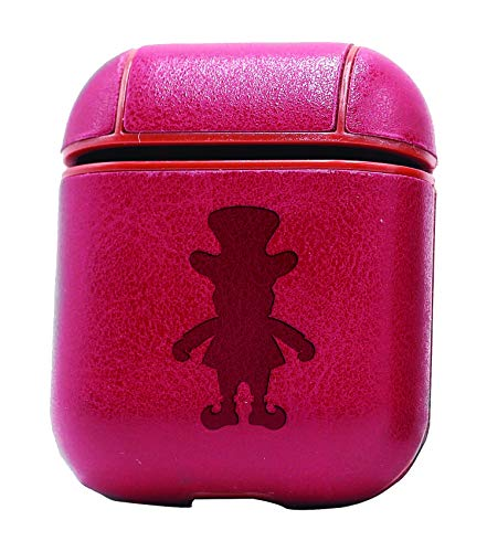 Leprechaun Silhouette (Vintage Pink) Air Pods Protective Leather Case Cover - a New Class of Luxury to Your AirPods - Premium PU Leather and Handmade exquisitely by Master Craftsmen