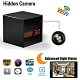 Hidden Camera HD Wireless Spy Network Camera Smart Clock WiFi Fluent Video Recorder with Enhanced Night Vision , 12 Hours and 24 Hours Black