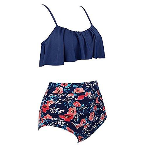 chuxin huang Womens High Waist Bikini Swimsuits Two Piece Retro Thin Shoulder Straps Plus Size Swimwear Red by chuxin huang (Image #2)