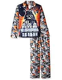 star wars boys coat pajama set button front top with pant - Star Wars Christmas Pajamas